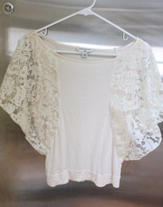 Banana Republic Dolman Sleeves Lace Lace Sleeves Beige Top Ivory