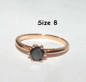Black Zircon Rose Gold Ring Free Shipping