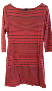 Gap short dress Pink/Grey striped Cotton Belted on Tradesy