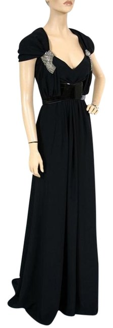 Item - Black New Belted Gown with Crystal Embroidery Long Formal Dress Size 6 (S)