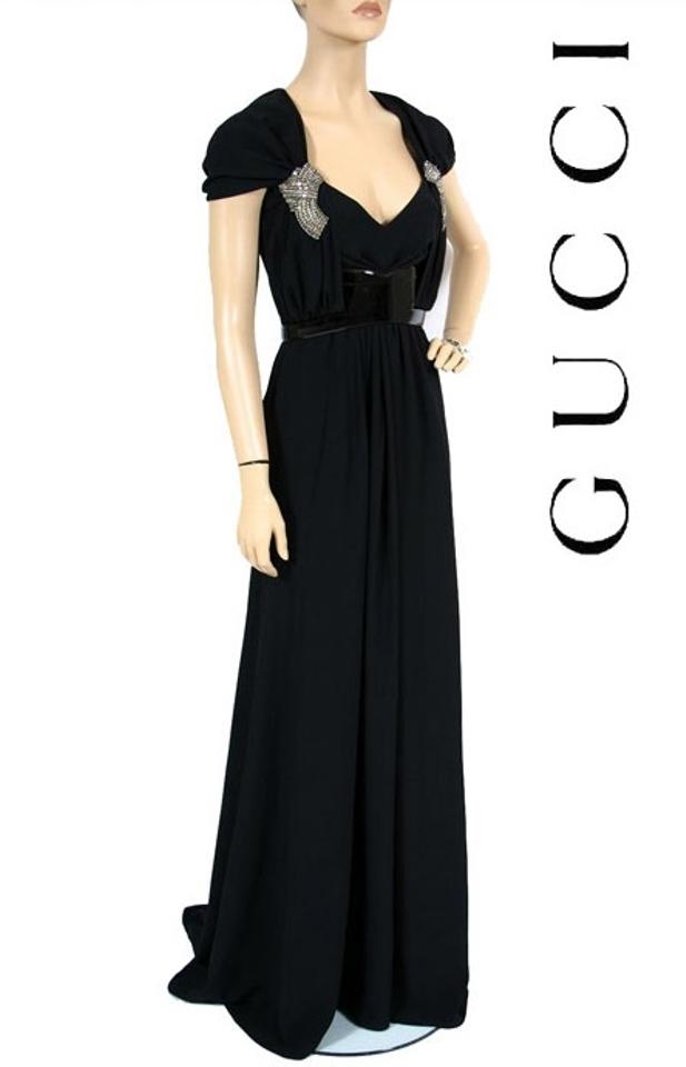 ccd5d1b83 Gucci Black New Belted Gown with Crystal Embroidery Long Formal ...