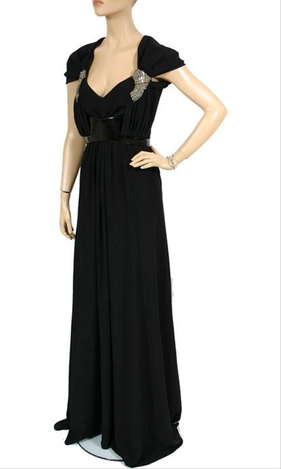 Gucci Black New Belted Gown With Crystal Embroidery Long Formal