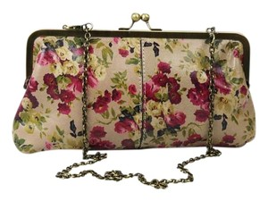 Patricia Nash Designs Floral Leather Bronzed Hardware Antique Rose Clutch