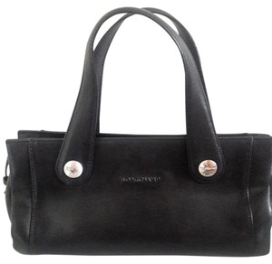 Longchamp Silver Hardware Satchel in black