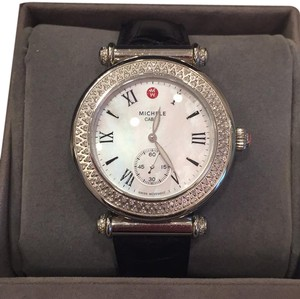 Michele Michele Caber Diamond Onyx Womens Watch Black Alligator Strap 18mm
