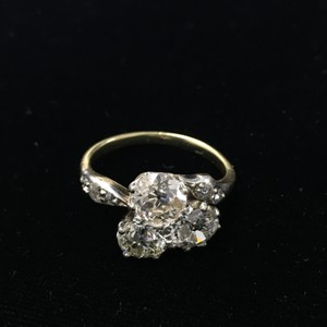 Unique Late Victorian Silver Topped Gold With Three Brilliant Cut Diamonds Ring
