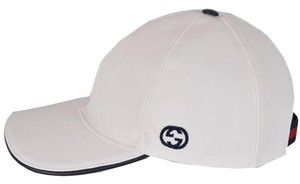 Gucci Gucci Men's 387554 White Canvas Interlocking GG Web Baseball Hat M