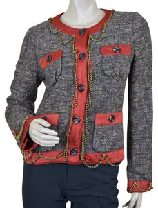 Moschino Tweed Boucle Chains Lined Multi Blazer