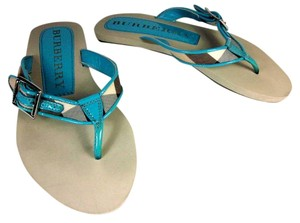 Burberry Blue Leather Nova Check Flip Sandals