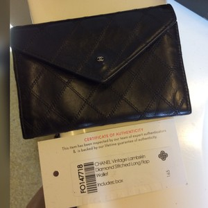 Chanel Authentic CHANEL Cosmos Line Black Leather Bifold Wallet