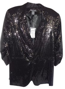Chelsea & Theodore Special Occasion 3/4 Sleeve Lined Top black sequin