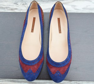 GIORGIOS of Palm Beach Suede Maroon and Blue Flats