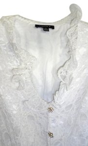 Chetta B. by Sherrie Bloom and Peter Noviello Sheer Lace Special Occasion Top WHITE