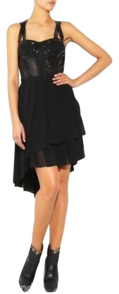 52fcff0f Versace Black New Leather Trimmed Mini Above Knee Formal Dress Size 4 (S)  49% off retail