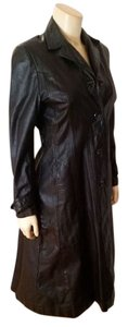 Wilsons Leather Trench Coat Size 2 black Leather Jacket