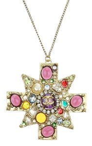 Chanel Gold Multicolor Gripoix Crystal Pendant Necklace