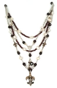 Kinley Sterling silver Garnet and Pearl Fleur-de-lis Kinley Necklace