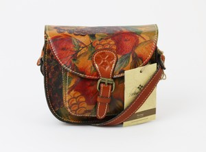 Patricia Nash Designs Leather Buckle Fruit Bronzed Hardware Cross Body Bag