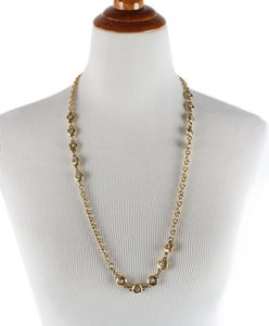 Chanel Chanel Gold Metal Rhinestone Necklace