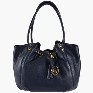 Michael Kors Ring Leather Color Leather Tote in NAVY