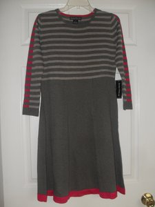 Jessica Howard short dress Taupe/Pink/Olive Striped Longsleeve on Tradesy