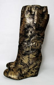 Chanel Gold Wedge Suede Wedge High Heel Gold/Black Boots