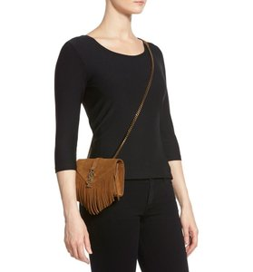 Saint Laurent Magnetic Closure Interior Wall Pocket Calfskin Suede Made In Italy Cross Body Bag