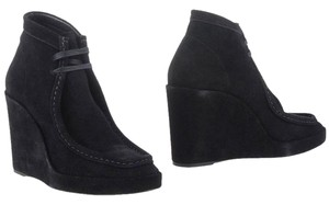 Balenciaga Lace-up Wedge Leather Suede Black Boots