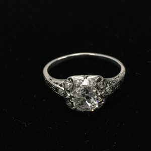 1920's Antique Platinum Old European Cut Diamond Engagement Ring
