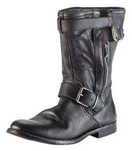 Burberry Combat Motocycle Buckle Black Boots