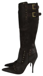 Cesare Paciotti Studded Buckles Dark Brown Boots
