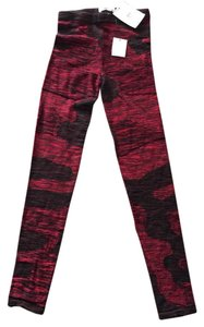 Étoile Isabel Marant Knit Print Wool Stretchy Textured Red and Black Leggings
