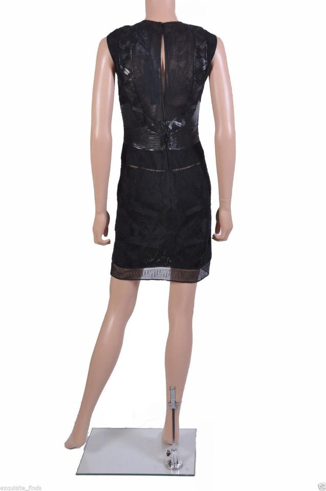 ad8e946ec41 Versace Black New Embroidered and Patent Leather Short Cocktail ...