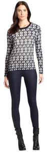 Tory Burch Printed White Navy Print Sweater