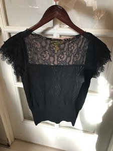 Catherine Malandrino Lace Lace Trim Top Black