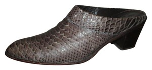 Stuart Weitzman Snakeskin Leather Western brown Mules