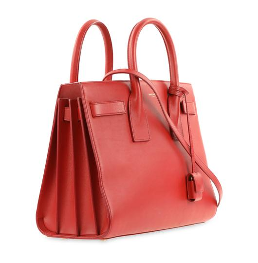 Saint Laurent Tote Leather Satchel in Red Image 1