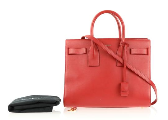 Saint Laurent Tote Leather Satchel in Red Image 10