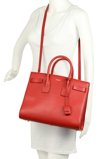 Saint Laurent Tote Leather Satchel in Red Image 11