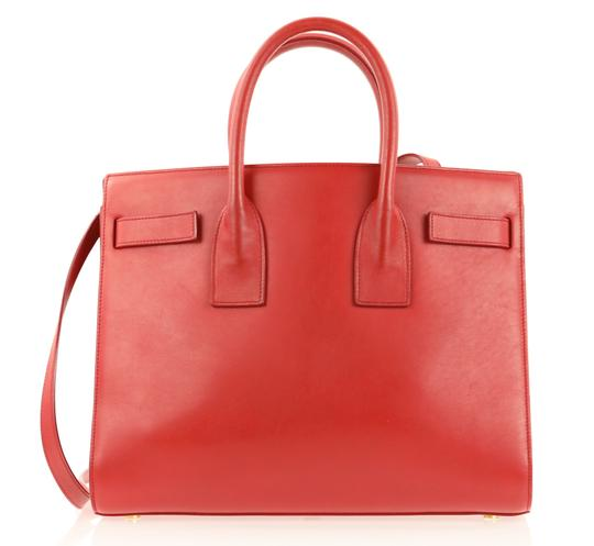 Saint Laurent Tote Leather Satchel in Red Image 2