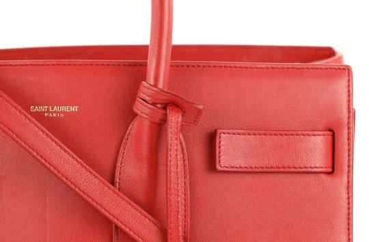 Saint Laurent Tote Leather Satchel in Red Image 3