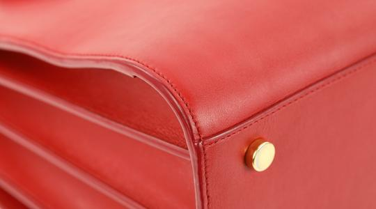 Saint Laurent Tote Leather Satchel in Red Image 4