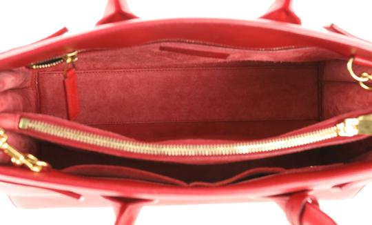 Saint Laurent Tote Leather Satchel in Red Image 7