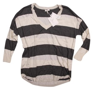 Joie Cashmere Striped V-neck Loose Sweater