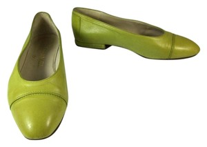 Chanel Leather Cc Ballet Green Flats