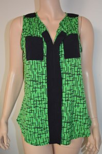 Antilia Femme Sleeveless Abstract Top Green, Black