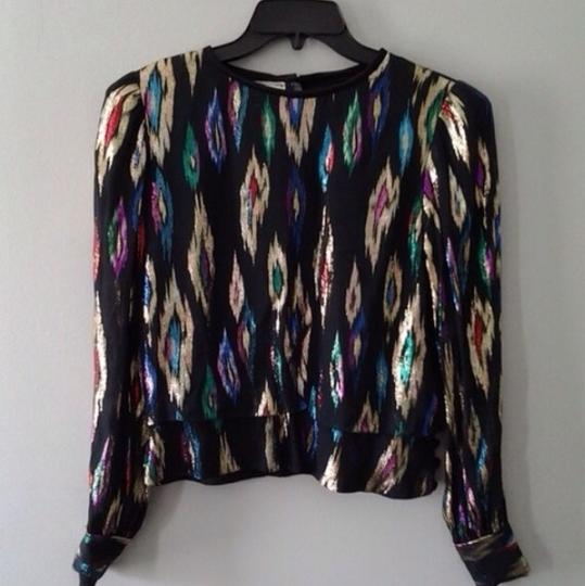 Black Multi Silk Metallic Jacquard Patterned Top 50% Off #19991066 - Blouses durable modeling