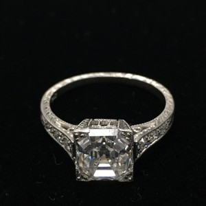 Platinum Royal Vintage Diamond Ring With 2.31 Cts Emerald Cut Center Stone