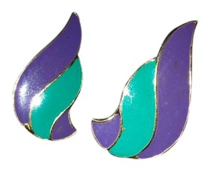 Purple and Teal Vintage Earrings