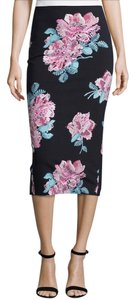 Elizabeth and James Pencil Neoprene Skirt Black Floral Print